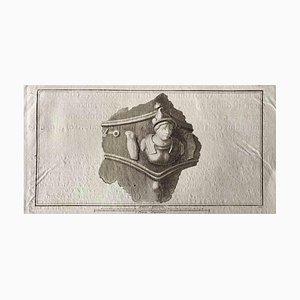 Aguafuerte, busto romano antiguo, 1750