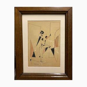 Fillia -Luigi Colombo, bailarina futurista, tinta y acuarela, 1926