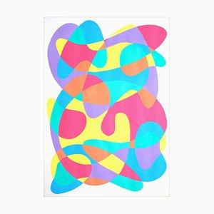 Pintura moderna de vívidos movimientos tropicales sobre papel, Mid-Century, 2021