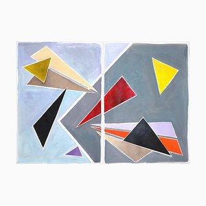 Floating Retro Triangles, Gemälde Diptychon in Pastelltönen, 2021