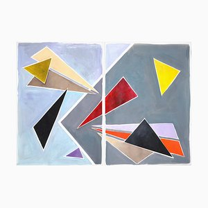 Floating Retro Triangles, Painting Diptych in Pastel Tones, 2021
