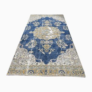 Vintage Turkish Beige & Blue Wool Rug