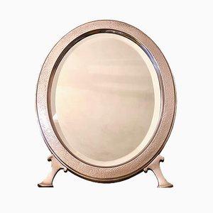 Espejo de mesa grande de metal plateado martillado de Christofle, década de 1880