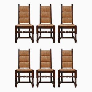 Französische Mid-Century Rush Esszimmerstühle im Stil von Charles Dudouyt, 6er Set