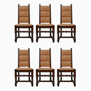 Mid-Century French Rush Dining Chairs in the Style of Charles Dudouyt, Set of 6