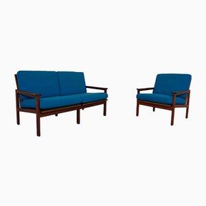 Teak Capella 2-Sitzer Sofa & Sessel von Illum Wikkelsø für Niels Eilersen, 1960er, 2er Set