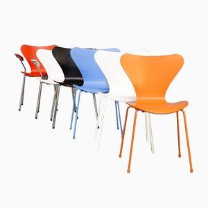 Modell 3107 & Modell 3207 Esszimmerstühle von Arne Jacobsen für Fritz Hansen, 6er Set