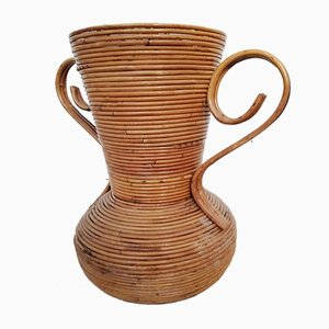 Rattan Amphora Vase Attributed to Vivai Del Sud, Italy, 1960s