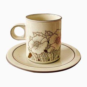 Vintage Cornrose Ceramic Coffee Set for Lancaster Vitramic, Set of 11, 1970s