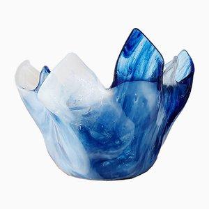 Bougeoir Vintage en Verre de Cristal Bleu et Blanc, 1960s