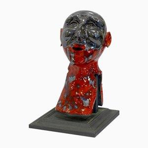 Giulio Tucci, Red Pulcinella, Painted Terracotta Sculpture