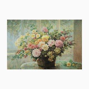 Giovanni Bonetti, Flores en la mesa, Óleo sobre lienzo