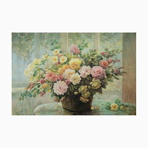 Giovanni Bonetti, Flowers on the Table, Oil on Canvas