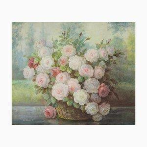 John Bonsetti, flores, óleo sobre lienzo