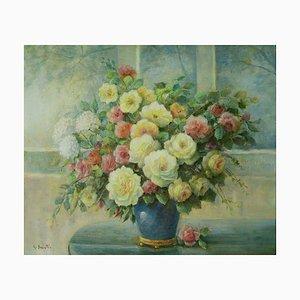 John Bonsetti, Flowers, Oil on Canvas
