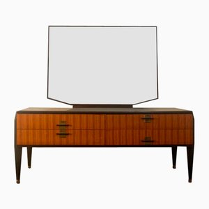 Chest of Drawers in Zebrano and Rosewood with Glass Top and Mirror, 1958, Set of 2
