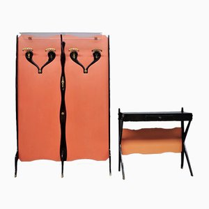 Wall Coat Rack and Console, 1950s, Set of 2