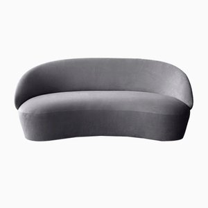 Naïve 2-Sitzer Sofa in grauem Velours von etc.etc. für Emko