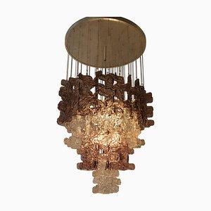 Lámpara de araña grande de cristal de Murano transparente y rosa de Carlo Nason
