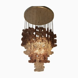 Large Clear & Pink Murano Glass Chandelier from Carlo Nason