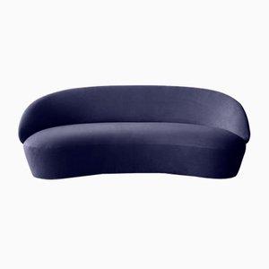 Sofá de tres plazas Naïve de terciopelo azul de etc.etc. para Emko
