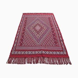 Alfombra tunecina vintage de lana roja