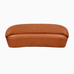 Sofá de tres plazas Naïve de cuero marrón oscuro de etc.etc. para Emko