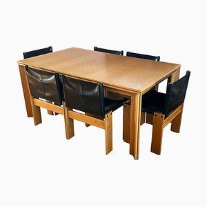 Table et Chaises de Salle à Manger Monk en Cuir Noir et Hêtre par Tobia & Afra Scarpa pour Molteni, 1973, Set de 7