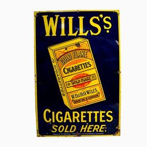 Insegna pubblicitaria vintage smaltata di Will's Gold Flake