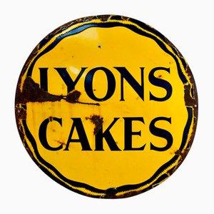 Insegna pubblicitaria vintage smaltata di Lyons Cakes