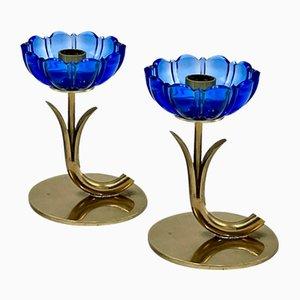 Bougeoirs Floraux par Gunnar Ander pour Ystad Metall, Suède, 1950s, Set de 2