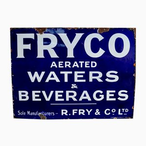 Insegna vintage smaltata di Fryco Aerated Water & Beverages