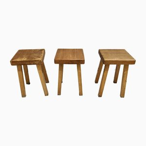 1800 Stools by Charlotte Perriand for Les Arcs, Set of 3