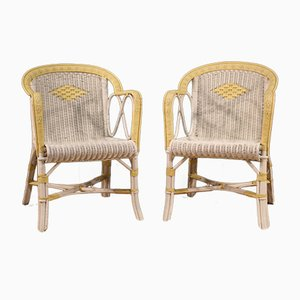 Italian Wicker Armchairs, Set of 2