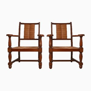Mid-Century French Wooden & Rush Armchairs, Set of 2