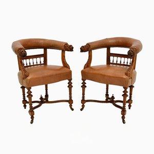 Antike Armlehnstühle aus Leder & geschnitzter Eiche, 2er Set