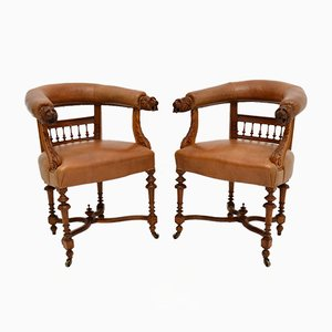 Antique Leather & Carved Oak Armchairs, Set of 2