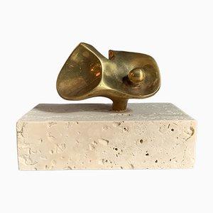 Flor Da Amazonia, Bronze Miniature by Domenico Calabrone, Brazil, 1960s