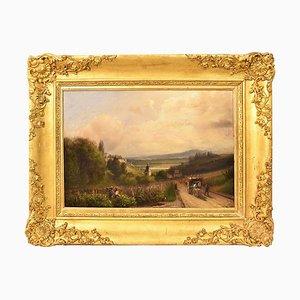 Pintura de paisaje, óleo sobre madera, siglo XIX.