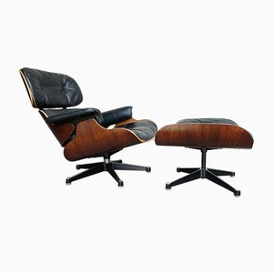 Vintage Modell 670 Sessel & Modell 671 Fußhocker von Charles & Ray Eames für Contura Herman Miller, 1950er, 2er Set