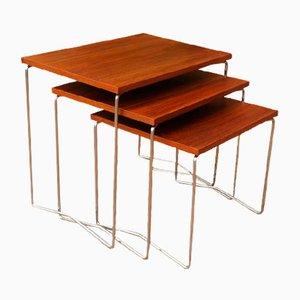 Mid-Century Modern Teak & Chrome Nesting Tables, 1960s, Set of 3