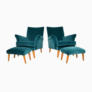 Armchairs & Ottomans, 1960s, Set of 4