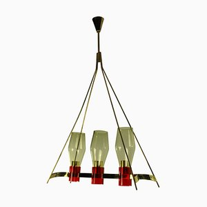 Italian Brass & Glass Ceiling Lamp, 1950s