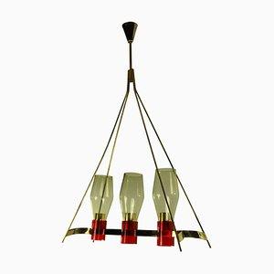 Italienische Deckenlampe aus Messing & Glas, 1950er