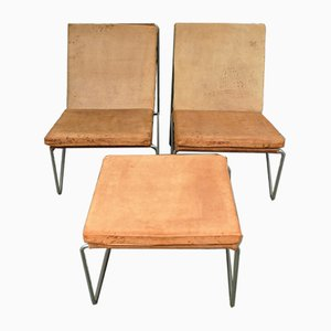 Bachelor Chairs & Ottoman by Verner Panton for Fritz Hansen, 1950s, Set of 3