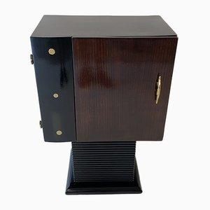Italian Art Deco Black Lacquer, Oak & Brass Cabinet, 1930s