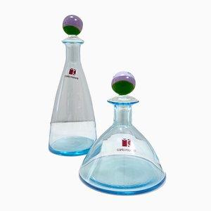 Italian Blue Murano Glass Perfume Bottles by Carlo Moretti, Set of 2