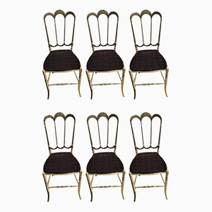 Brass Chairs from Chiavarina, Set of 6