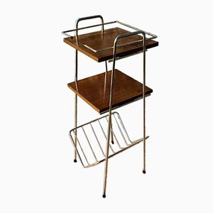 Vintage Side Table With Magazine Rack, 1950s