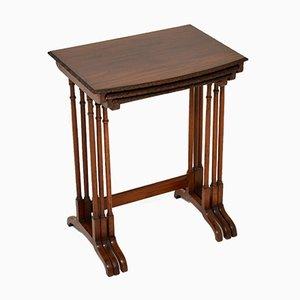 Tables Gigognes Antiques en Acajou, Set de 3